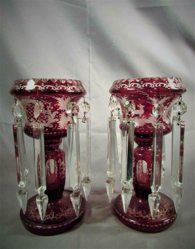 Antique Pair Bohemian Ruby Cut to Clear Mantle Lusters marked Czechoslovakia