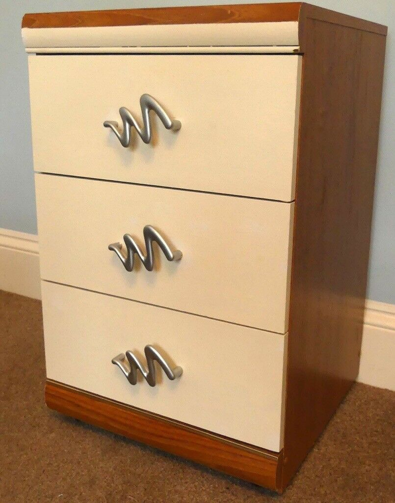 One Bedside Cabinet with three drawers H26in/66cmW16in/42cmD19/48cm