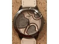 Genuine Silver & White Strap Guess Watch