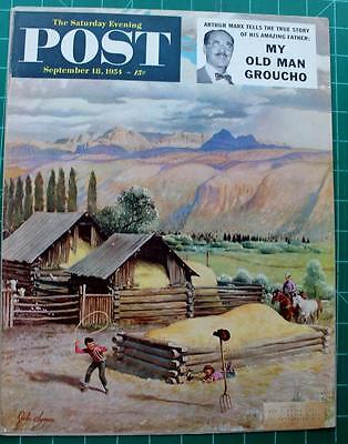 Vintage Saturday Evening Post Cover September 1954 John Clymer Ranch Scene Lasso