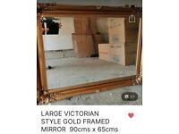 Large Victorian Style Gold Vintage Mirror