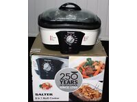 NEW SALTER 8 IN 1 MULTI COOKER, FRY, ROAST, STEAM, BAKE, BOIL, GRILL AND SLOW COOK, BOXED, CAN POST