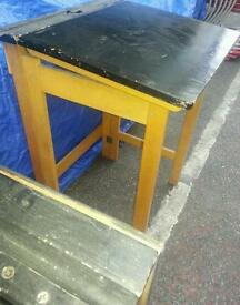VINTAGE 1950's SCHOOL FOLDING DESK..SOLID WOOD..