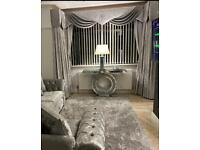 Amazing curtains and swag pelmet bespoke silver Ice grey crushed velvet