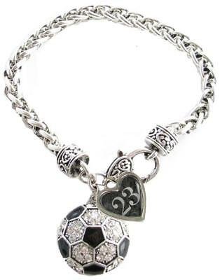 Custom Soccer Ball Crystal Claw Bracelet Jewelry Jersey Numbers 00-49 Available (Customized Soccer Balls)
