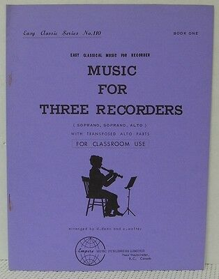 MUSIC FOR 3 RECORDERS Sheet Music Book CLASSICAL Alto & Soprano Vintage Teaching Classical Soprano Sheet Music