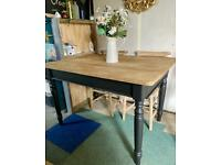 An up-cycled Vintage solid oak farmhouse/scrub top table with drawer