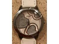 Silver and White Strap Guess Watch with New Battery and Strap