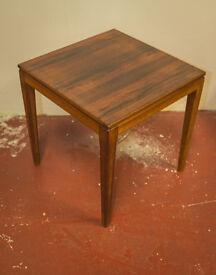 vintage retro mid century modern 50s teak and walnut side table
