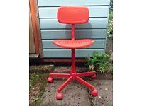 Orange adjustable swivel chair