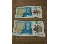 2 new plastic five pound notes Winston Churchill #AA