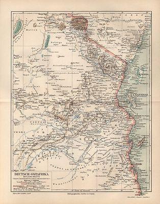 DEUTSCH-OSTAFRIKA östliche Hälfte DOA  LANDKARTE 1894