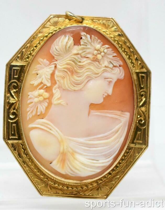 Vintage ORNATE 10K Yellow Gold Cameo Maiden Carved Shell Pin Brooch Pendant