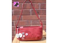 RADLEY 'Buttons' small red leather shoulder bag *Pristine condition