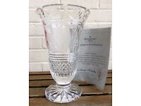 RARE WATERFORD CRYSTAL -GLAMIS CASTLE- LARGE LTD EDITION CUT GLASS QUEEN MOTHER VASE & COA