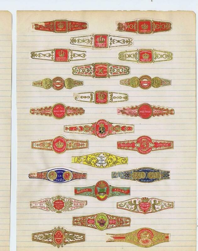 page of 23 cigar bands mostly Mexican cigar bands will soak of paper #255