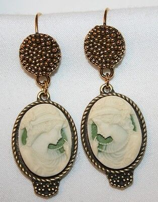 Lovely Medium Green & Cream Flapper Girl Brasstone PIERCED Earrings