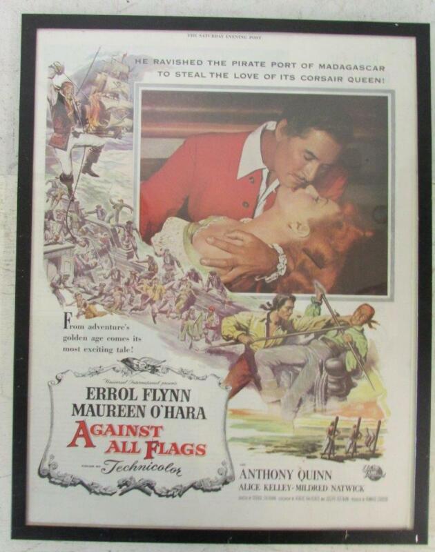 1952 FRAMED NEWSPAPER AD for AGAINST ALL FLAGS Errol Flynn Maureen O