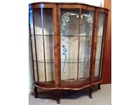 1952 Antique Half Moon China Display Cabinet with Queen Anne Style legs