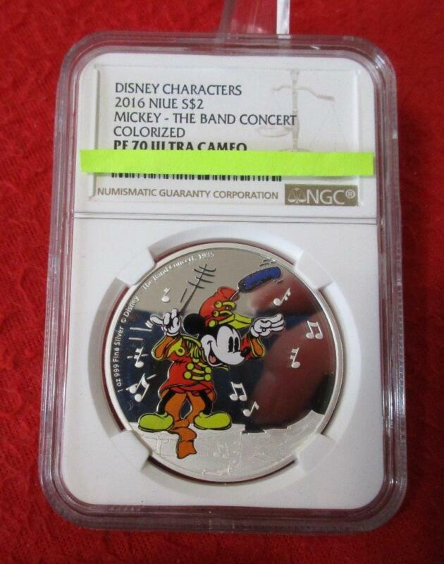 2016 NIUE 1 OZ SILVER $2 Mickey  The Band Concert  Colorized NGC PF 70 UC   #MF-