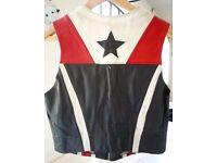 Steve Gerrard London Real Leather Star Print Biker Waistcoat    Size 10