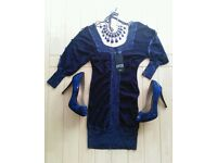 New look size 8 Limited Edition blue glittery knit dress