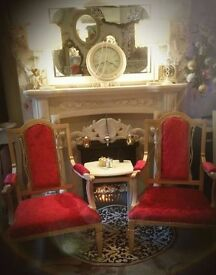 Beautiful Gold & Ruby Red *STATEMENT THRONE* Rococo French Louis Regency Style