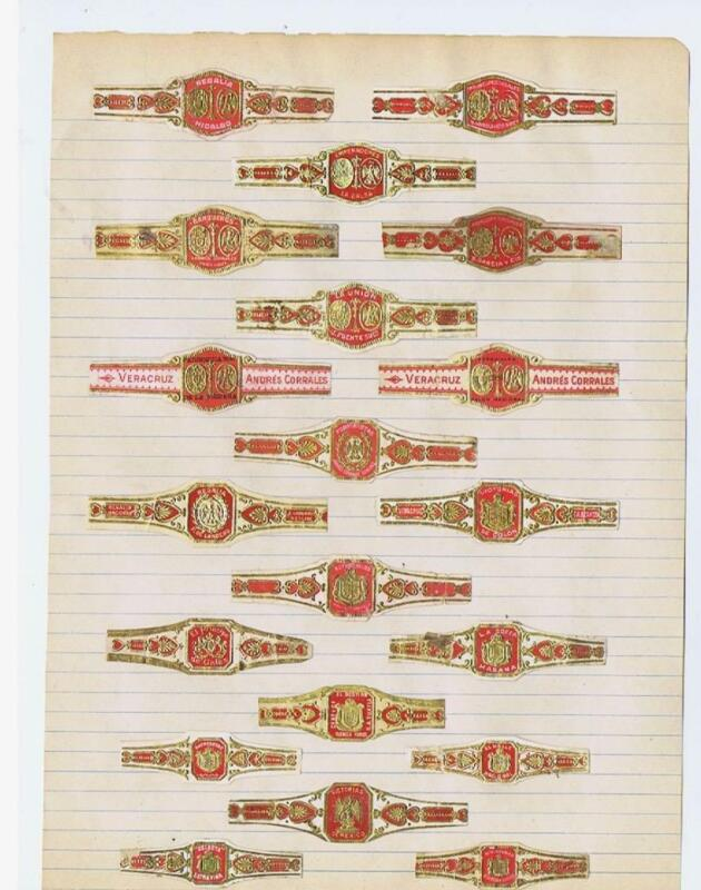 page of 20 cigar bands mostly Mexican cigar bands will soak of paper #256