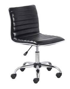 BTExpert Swivel Mid Back Armless Ribbed Designer Task Chair Leather Upholstery Black NEW ** 5 CORNERS FURNITURE**