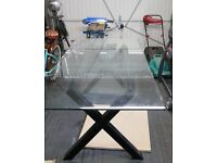 LARGE SOLID BLACK WOOD FRAME GLASS TOP DINING TABLE