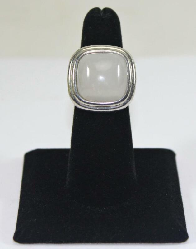 Vintage Ladies Silver Tone Moonstone Ring Costume Jewelry Size 5.5
