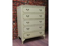 Ornate French Vintage Shabby Chic Solid Wood Chest of Bedroom Drawers