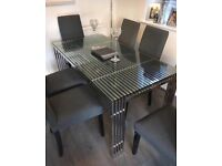 Chrome metal and glass 6 seater dining table by Greenapple