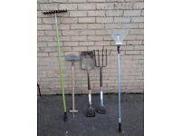 Garden Tools - Spade, Fork, Edger, 2 x rakes