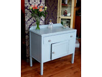Vintage cupboard, freshly painted in dove grey, with brand new silver crackle knobs
