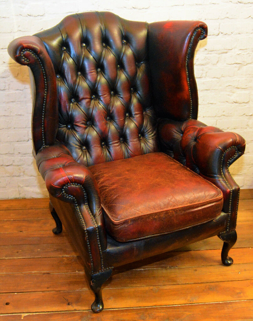 Elegant Chesterfield Oxblood Red Wingback Armchair Queen Anne Vintage Chairs  Leather Antique Lounge