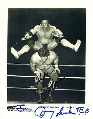 Superfly Jimmy Snuka   Magnificent Don Muraco Duel Signed Classic Wrestling  Coa