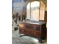 Vintage Solid Wood Dressing Table or Chest of Drawers