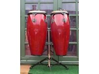 Pair Red Congas including sturdy stainless steel stand