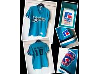 "Russell athletic"" American Tshirt label says youth size L Retro sportswear circa 1990."