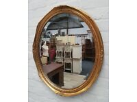 Oval Gilt Framed Wall Mirror (DELIVERY AVAILABLE)