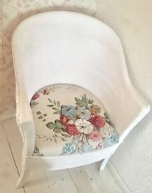 Vintage upcycled white wicker chair with Sanderson floral seat