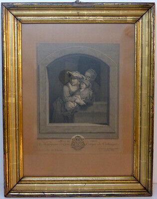 Kupferstich,C.W.E. Dietricy, Graveur J. G. Wille, REPOS DE  LA VIERGE,