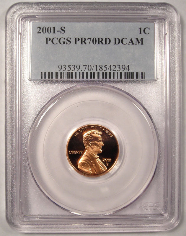 2001-S Proof Lincoln Cent - PCGS PR70 DCAM - Nice Coin!