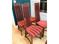 FULL SET WOODEN DINING CHAIRS X5, HIGH BACK, LATTICE, CANDY STRIPE, KITCHEN VINTAGE