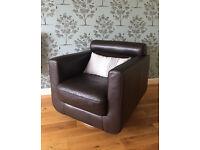 Dark Brown, 100% Leather, Sofa/Swivel Chair, Like New