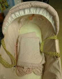 Pink girl baby Moses basket with bedding