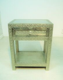 beautiful antique hand stenciled aluminum sheet 1 drawer bedside table unit