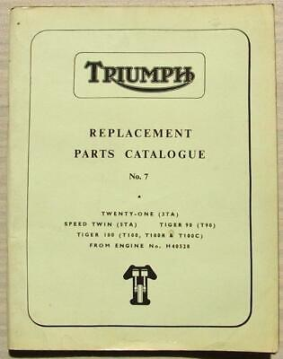 TRIUMPH MOTORCYCLES 3TA 5TA T90 T100 Spare Parts List Catalogue 1965 #958/65
