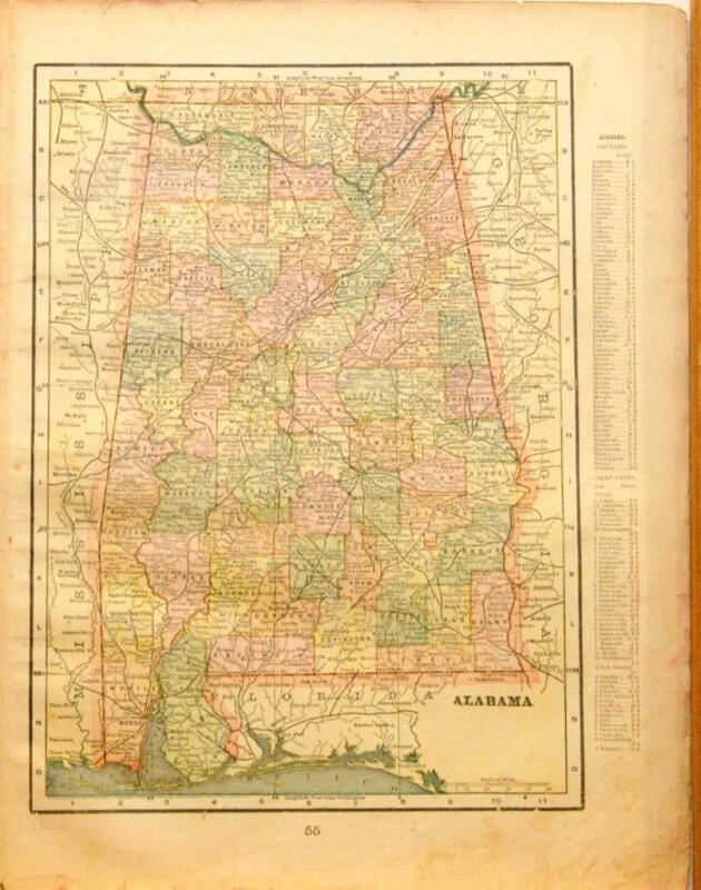 Beautiful Original 1899 Alabama Large Color Map/10x14
